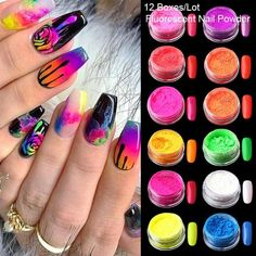 Fluorescent Nails, Neon Acrylic Nails, Neon Nail Art, Colorful Nail Art, Glitter Nail Art, Acrylic Nail Designs, Nail Art Designs, Gradient Nails, Diy Nail Decorations