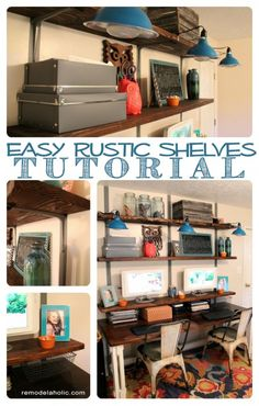 Easy Rustic Wall Shelves Tutorial... I especially love that the computer monitors are raised and things are stored underneath them for a clean desk surface!