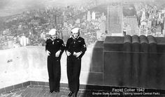 Two Navy men atop the Empire State Building in 1942.