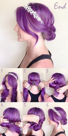 twisted purple updo tutorial with clip in purple color extension