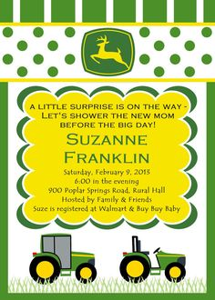 printable baby shower invitation tractor theme | john deere for, Baby shower invitations