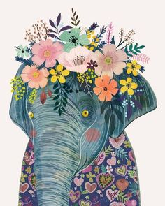 Elephant with Floral Crown Art Print – Funny Decoration Gift – Cute Room Decor – Poster by Mia Charro - Art And Illustration, Flower Illustrations, Flower On Head, Flower Crowns, Crown Art, Frida Art, Creation Deco, Elephant Art, Floral Crown