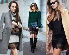Dica para arrasar nas combinações com renda - Moda it Crie um look de inverno sexy e discreto sobrepondo um tricô oversized ou um casacão com aquele vestido/saia com barrado de renda.