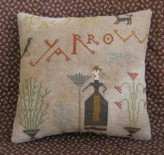 Tansy, Yarrow, Rue Primitive Pillow Tuck, A Pineberry Lane Design, Stitched By The Humble Stitcher