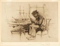 "GORDON HOPE GRANT American, 1875-1962 The ship model builder Signed in pencil lower right margin ""Gordon Grant"" Numbered in pencil lower left 69/100 Etching on paper 8"" x 11"" Gordon Grant (1875-1962) Born in San Francisco. At age 12 sailed around the Horn to London, England to study art at the Heatherly and Lambeth Schools. Returning to his native city in the 1 Art Collector: 29 Classic Works of Art, Marine and Seascape Paintings - Know the artists, and the stories behind their paintings - 3"