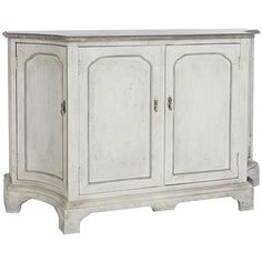 French Shabby Chic Concave Sideboard - distressed ivory finish  foyer for RCA Gramaphone and vinyl records