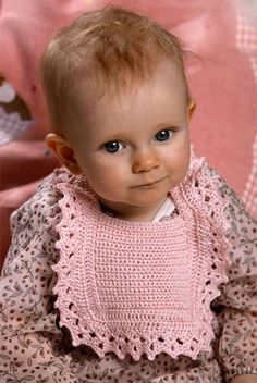 Crochet Bib with lace - This World.  I think this little girl is the most precious little thing, I could look at her all day! ♥