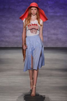 Red hat and blue button-up skirt at Rebecca Minkoff Spring 2015 // #SS15 #RTW #Runway #NYFW @RebeccaMinkoff