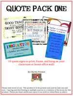 Quote Pack One... 10 quote signs. $2. theorganizedclassroomblog.com