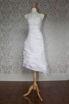 Halter neck dropped waist hi-low hem gown,wedding dresses in color,wedding dresses in color,wedding dresses in color