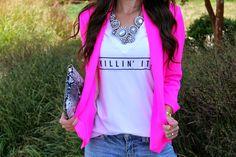 Kiss Me Darling: Killin It in Neon Neon blazer, graphic tee, Killin it Tee, destroyed denim, black heels, strappy heels, statement necklace, neon