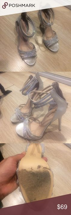 """Touch of Nina - Silver Reflective 4"""" Pumps Sandals Lovely shimmery silver color. Plus size 11. Some wear on sole but otherwise great condition. Only worn 3-4 times. Touch of Nina Shoes Heels"""