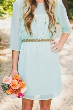 Mint dress with gold accents. Great bridesmaid dress for a casual wedding. I& just change the color of the dress. Mint Green Bridesmaid Dresses, Mint Green Dress, Casual Bridesmaid, Casual Wedding, Bridesmaid Ideas, Gold Bridesmaids, Bridesmaid Bouquet, Sheer Dress, Dress Up