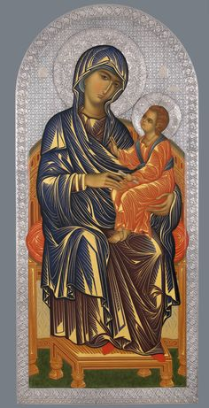 A contempary icon classic early byzantine style resembling mt. Religious Pictures, Religious Icons, Religious Art, Byzantine Icons, Byzantine Art, Blessed Mother Mary, Blessed Virgin Mary, Greek Icons, Christian Artwork