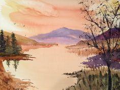 Mountain lake in watercolors.