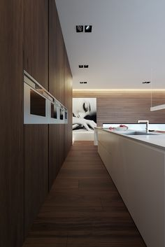 Minimalist Kitchen // modern kitchen with wood wall to provide built-in storage at the Weekend house — Line Architects Modern Kitchen Design, Interior Design Kitchen, Modern Interior Design, Interior Architecture, Kitchen Decor, Warm Kitchen, Minimalist Home Decor, Minimalist Kitchen, Minimalist Interior