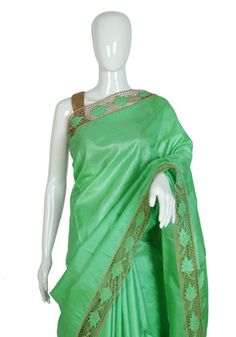 Light Green Tussar Silk Saree with Light Brown Cut Work – Desically Ethnic