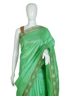 Light Green Tussar Silk Saree with Light Brown Cut Work – Desically Ethnic