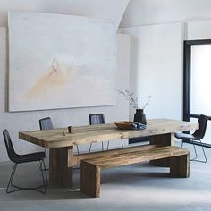 Small Living Room With Dining Table - Emmerson® Reclaimed Wood Dining Table Reclaimed Pine Reclaimed Wood Dining Table, Dining Table With Bench, Wooden Dining Tables, Dining Room Table, West Elm Dining Table, Dining Rooms, Wooden Dining Table Designs, Diy Table Legs, Wood Table Legs