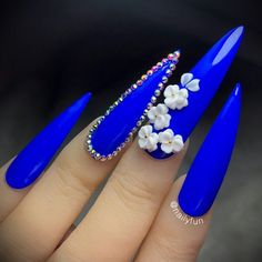Electric blue by Nailyfun Halloween Acrylic Nails, Bling Acrylic Nails, Best Acrylic Nails, Matte Nails, Stiletto Shaped Nails, Coffin Shape Nails, Royal Blue Nails Designs, Sunflower Nails, Pointed Nails