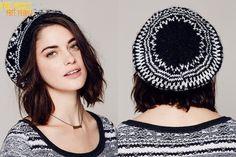 セレブ多数愛用★Free People★Printed Intarsia Beret 大人レトロなブラック&ホワイトカラーのモノトーンの、とっても可愛いベレー帽です♪