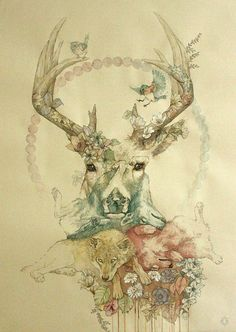 Watercolour wolf-stag design