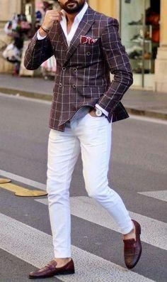 Wearing Stylish Mens Fashion Jackets - Top Fashion For Men Blazer Outfits Men, Mens Fashion Blazer, Stylish Mens Fashion, Suit Fashion, Men's Outfits, Casual Outfits, White Pants Outfit Mens, White Pants Men, Stylish Man