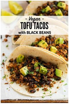 Quick and easy Tofu Tacos with black beans. Crispy, lightly spicy, and delicious… Quick and easy Tofu Tacos with black beans. Crispy, lightly spicy, and delicious! A high protein vegetarian meal that's ready in less than 30 minutes. via Well Plated High Protein Vegetarian Recipes, Veggie Recipes, Healthy Recipes, Quick Vegetarian Meals, Healthy Protein, Recipes For Tofu, Protein For Vegetarians, Tofu Protein, High Protein Meal Prep