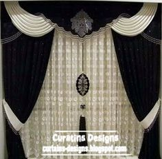 Black Luxury Curtains Black And White Curtain And Luxury Curtains, Home Curtains, Modern Curtains, Curtains With Blinds, Window Curtains, Classic Curtains, Drapery Panels, Black White Curtains, Curtain Styles