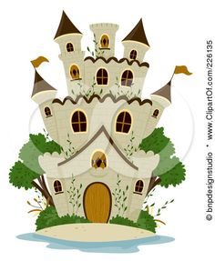 Royalty-Free (RF) Clipart Illustration of a Stone Castle Wigh Gree Trees by BNP Design Studio