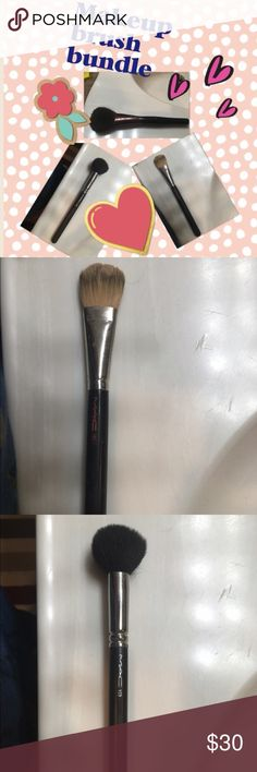 MAC and Shiseido makeup brushes Shiseido all over powder brush, MAC foundation brush, and MAC contour brush. All used once but EXCELLENT condition! The only wear is some chipping in the paint on the handles. MAC Cosmetics Makeup Brushes & Tools