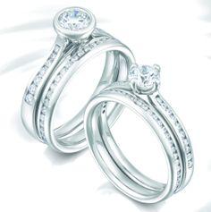 Diamond Set Engagement Wedding Ring Sets by www.diamondsandrings.co.uk