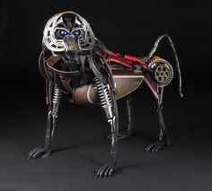 """""""Ferdinand the Baboon"""" - found object and welded steel sculpture by Jud Turner - copyright 2013"""