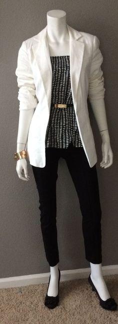 Como só postei looks com saia, esta ai um look lindo com calça para o trabalho, amei!! ♥