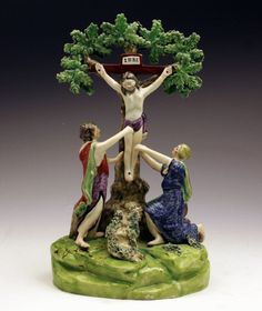 Love the colors - Crucifixion -  Pre-Victorian Staffordshire (with repairs)