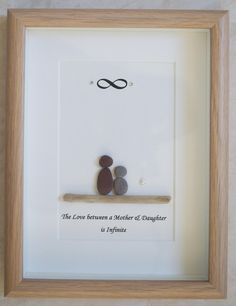 This is a beautiful small Pebble Art framed Picture of Mother & Daughter - The Love between a Mother & Daughter is Infinite handmade by myself using Pebbles, Driftwood, White Heart Size of Picture incl Frame : approx. 22cm x 17cm Thanks for looking Doris Facebook: https://facebook.com/Pebbleartbyjewlls4u Product Code: P - Aqua