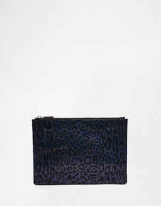 Image 1 ofWhistles Leather Clutch in Navy Leopard Print