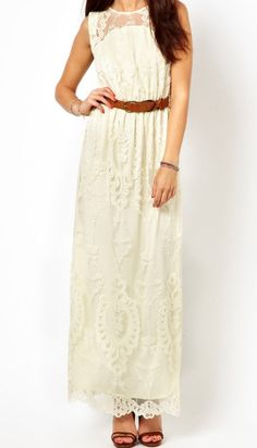 Etheral dress...That lace overlay is killer classy. I love the shoe and belt choice as well- cognac leather pairs so well with white lace!