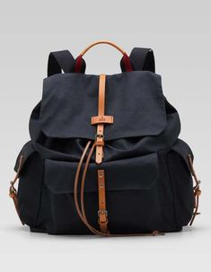 Gucci men's navy cotton backpack with signature web