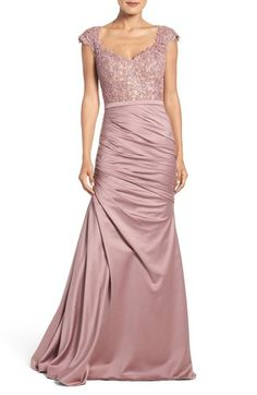 La Femme Embellished Lace & Satin Mermaid Gown available at #Nordstrom