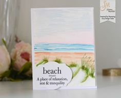 Inspired by Stamping, Joanna Munster, Seaside Sentiments stamp set, thinking of you card, beach card