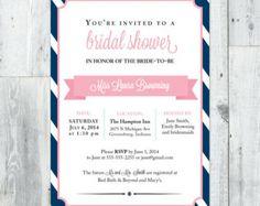 Bridal Shower Invitation Printable, Navy and Pink Stripes