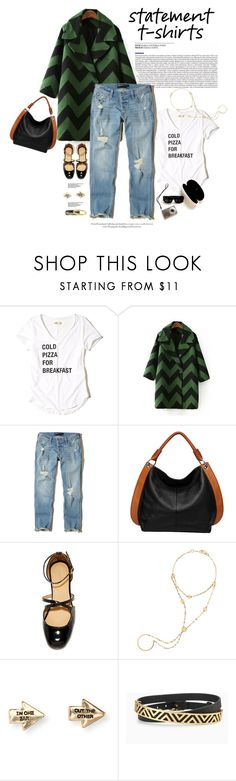 """""""Say What: Statement T-Shirts"""" by dawn-scott ❤ liked on Polyvore featuring Hollister Co., Vicenzo Leather, Lana, Aéropostale, Stella & Dot and Cartier"""