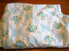 Vintage Tastemaker Blue Cameo Roses Twin Fitted Sheet Stunning Near Mint Cond