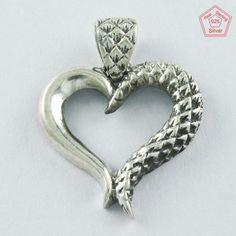 SIIPL- Heart Design Handmade 925 Sterling Silver Pendant P4596 #SilvexImagesIndiaPvtLtd #Pendant