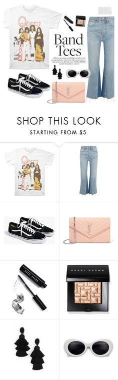 """Band Tees - Queen 90s style"" by antojulia ❤ liked on Polyvore featuring RE/DONE, J.Crew, Yves Saint Laurent, Bobbi Brown Cosmetics, Oscar de la Renta and summer2017"