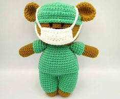 Crochet Frontline Hero Bear Pattern by Aixan Legasto of Yarn It, Darn It Crochet Mask, Crochet Faces, Crochet Teddy, Crochet Dolls, Free Crochet, Free Knitting, Crochet Bear Patterns, Doily Patterns, Baby Patterns