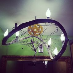 Bicycle tire light fixture at Bouldin Creek Coffeehouse.