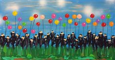 """Remember those carefree days of childhood ? """"Carefree Adventure"""" -  Heavy acrylic on stretched canvas. 19"""" x 36"""" x 3"""""""