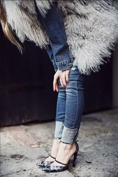 Shoes: fluffy grey vest sexy high heels black heels skinny jeans denim jacket denim fuzzy coat fall